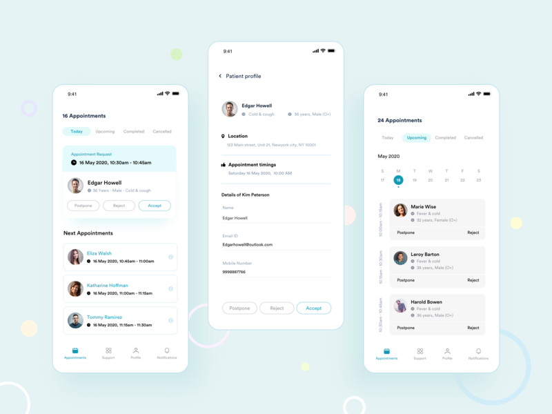 Book Appointments doctor video calling video conference virtual calling booking flow book appointmnets pastel colors calling app design minimal doctor appointments appointments medical
