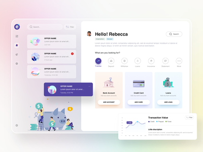 Bank Landing page landingpage transactions minimal design analytics offers accounts payments message view dashboard bank