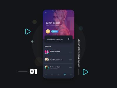 Music App Design Dark Theme