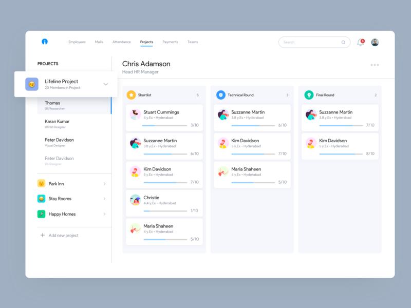 HR Portal inspiration projects dashboard jobs