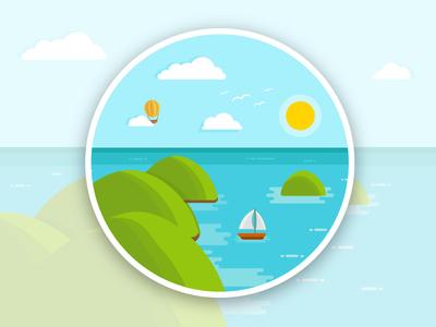 Top viewpoint of the island vector summer stickermule sticker plans logo illustrator sea island