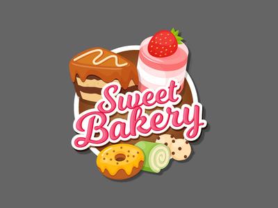 Sweet Bakery Sticker design illustration desserts cafe cake sticker bakery sweets