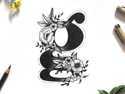 Floral Letter G drawing flowers botanical typography lettering letter floral letter