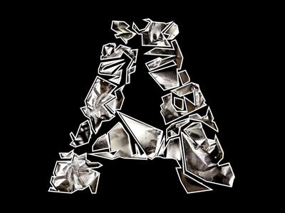 Foil and Fragment Letter A foil lettering letter metal
