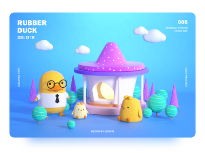 Rubber Duck—Cinema 4d design illustration ui