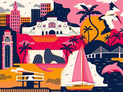 St. Pete Illustration tropical texture vector illustration city illustration st. petersburg
