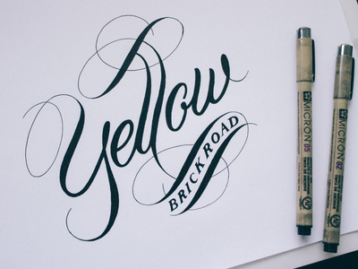 Yellow Brick Road - Live Hand Lettering Inking Session
