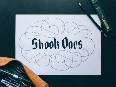 Shook Ones swashes fraktur blackletter logo lettering