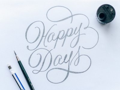 Happy Days cursive hand-lettering swashes logo lettering