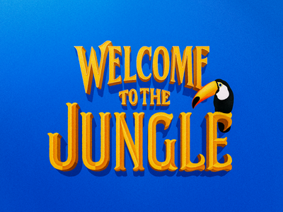 Welcome To The Jungle gold serif hand-lettering logo lettering