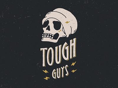Tough Guys texture grunge grit hipster beanie thunder bolt lightning skull hand-lettering logo lettering