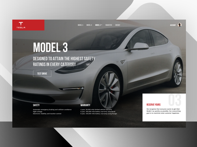 Telsa Model 3 ui product design sketch web design