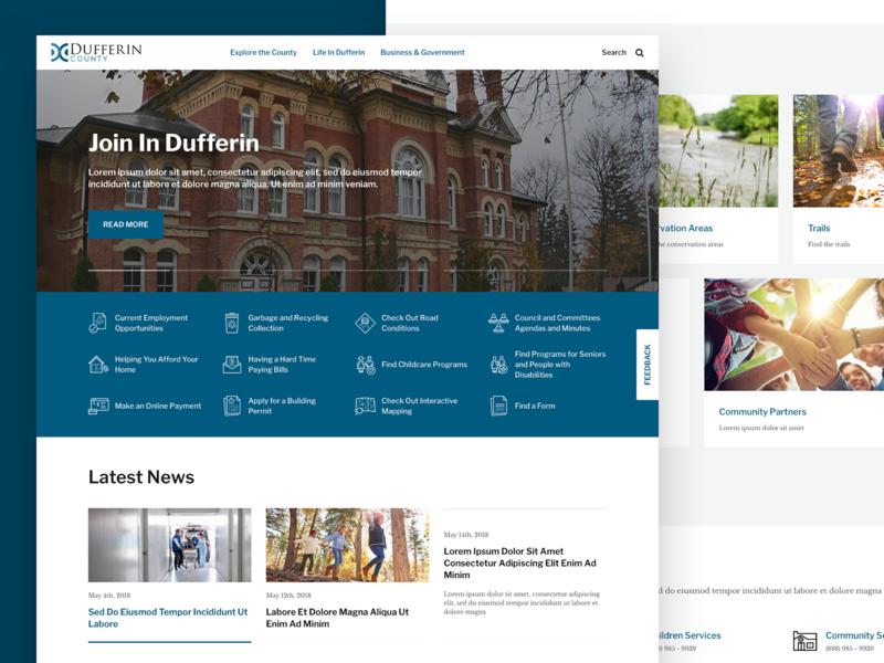Dufferin County - Municipality Website sketch product design design ui web design