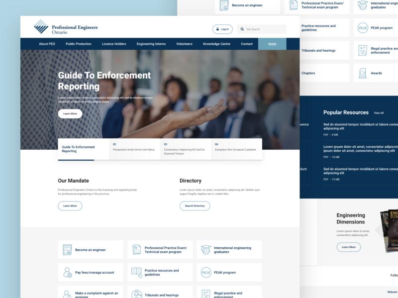 Professional Engineers Ontario - Homepage web design ui sketch