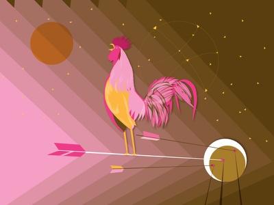 Hello Dribbble debut first shot goodnight goodmorning rooster moon sun