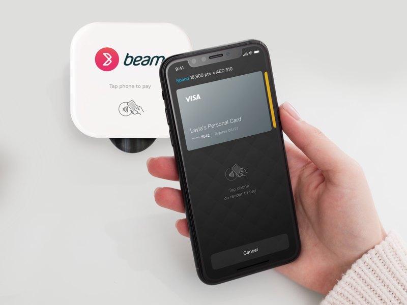 Beam Wallet - pay at the counter tap n go taptopay cardpayment credit cards credit card cards mobile iphone button wallet payments application app