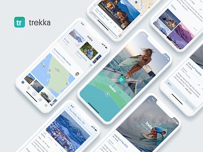 Trekka App map tracking traveller travel blog travelapp travel listing grid iphone brand ui design logo application app