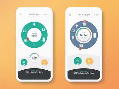 Energy Management App rebound electricity megawatts heater appliance feedback dials dial ui design mobile application app energy
