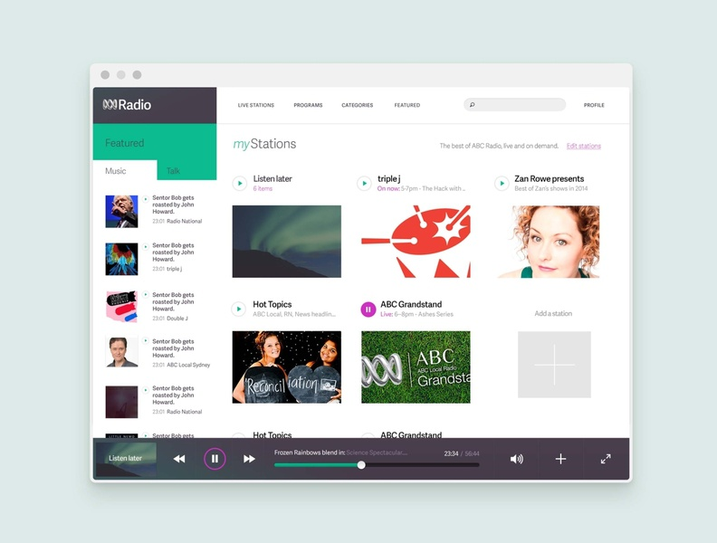 ABC Radio - Desktop Player Concept brand custom icons music audio player application ui