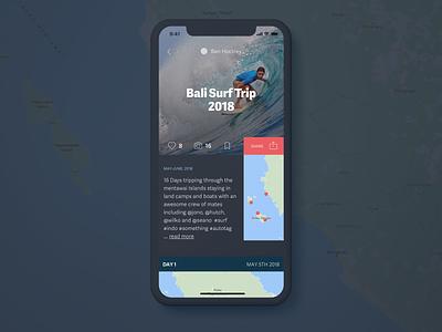 Trekka Dark UI Concept layout itinerary map travel app travel surf mobile ui mobile mobile app