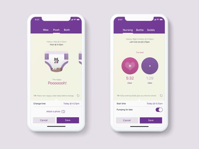 MevoBaby app illustration mobile design love child care feeding baby monitor diapers breastfeeding baby ui mobile app mobile