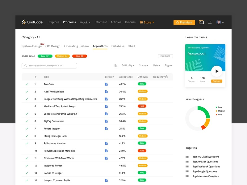 Leetcode Web Redesign Concept