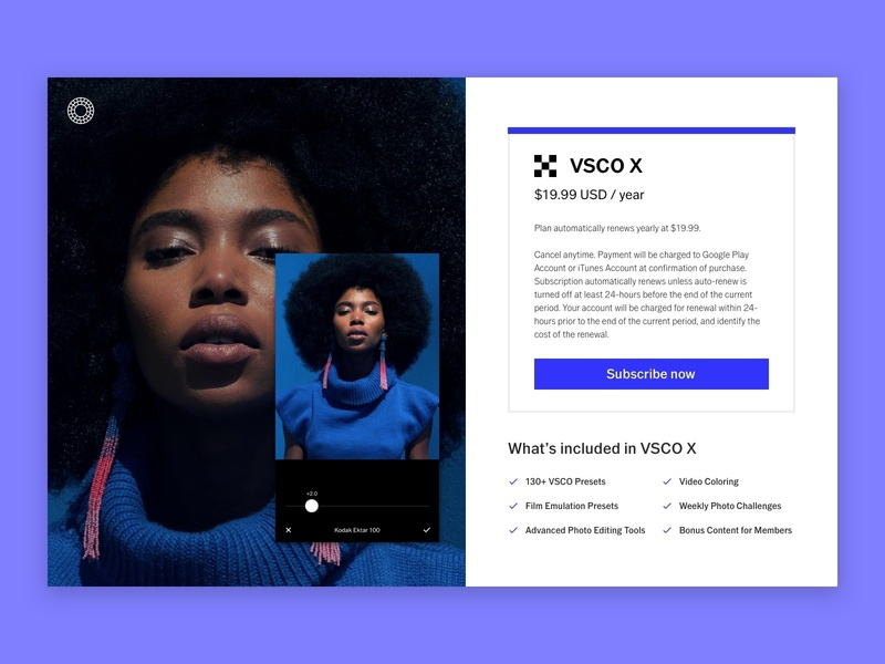VSCO X Subscription Page Redesign