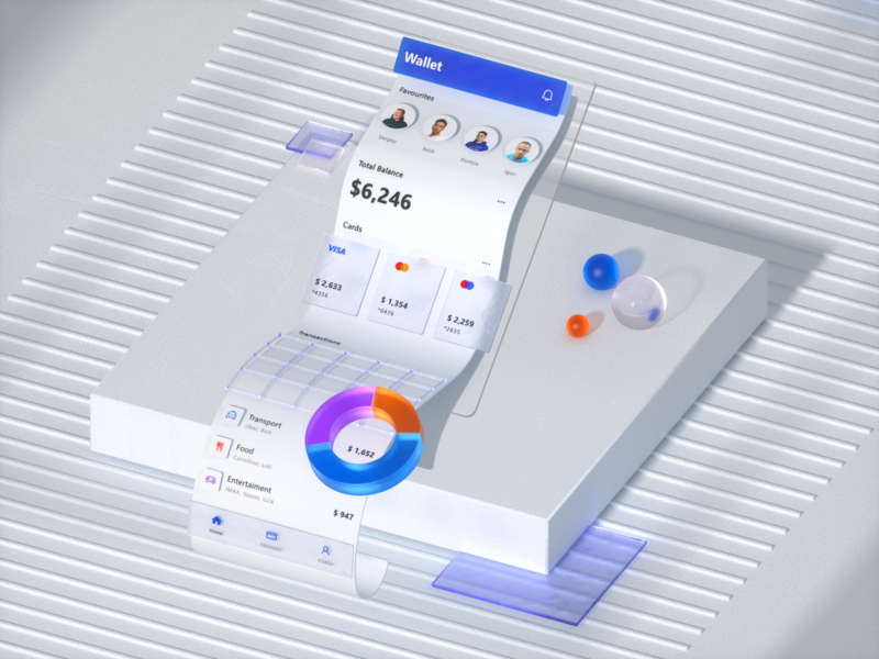 3D Wallet App Exploration c4d glass microsoft ios wallet fireart studio clean fireart 3d art cinema4d 3d ux ui