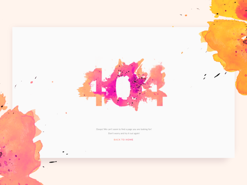 404 Page for Digital Creative Agency 404 web design zajno sketch user experience abstract design digital watercolor ui ux