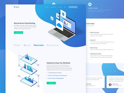 New Cloud Hosting Startup Website Design analytics platform landing solution cloud gradients laptop mockup web design zajno ux ui