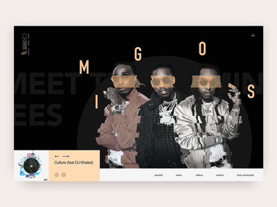Reimagining the Nominees Section of Grammy Awards Website artist migos experiment geometric typography music ux ui zajno redesign grammy awards website