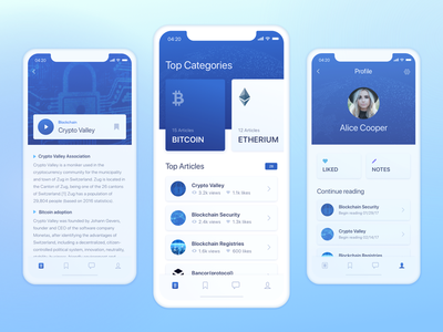 Mobile App Design for Knowledge Sharing Platform ios zajno ui ux clean user profile overview info article blockchain application mobile