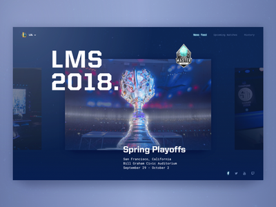 Upcoming Cybersport Events Monitoring Page Design league of legends dark color palette game clean web slider feed news cybersport zajno ux ui