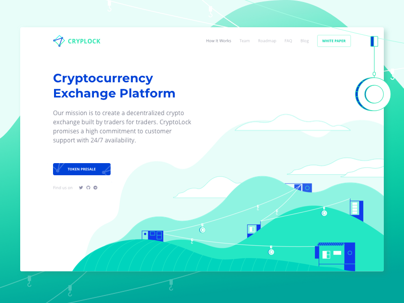 Decentralized Cryptocurrency Exchange Company Website metaphor ico landing exchange mountains green coin illustration zajno ux ui decentralized