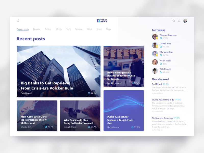 News Feed Design for a Young Journalist Platform post whitespace modern clean journalist young zajno ux ui landing feed news