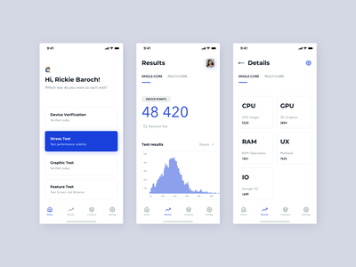 Benchmarking iOs App fireart studio fireart chart graphic tests ios mobile app benchmark user experience analytics clean design ux ui
