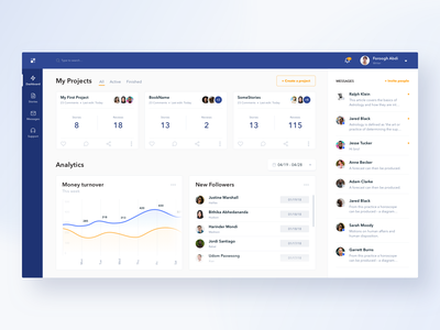 Project Management Dashboard for Writers fireart studio fireart chart user experience overview writers app analytics digital product clean web design ux ui