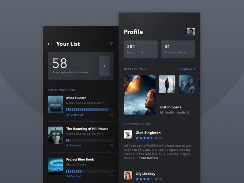 App for Tracking Your Series Viewing Activity fireart studio fireart dark user experience ios app design films ux ui