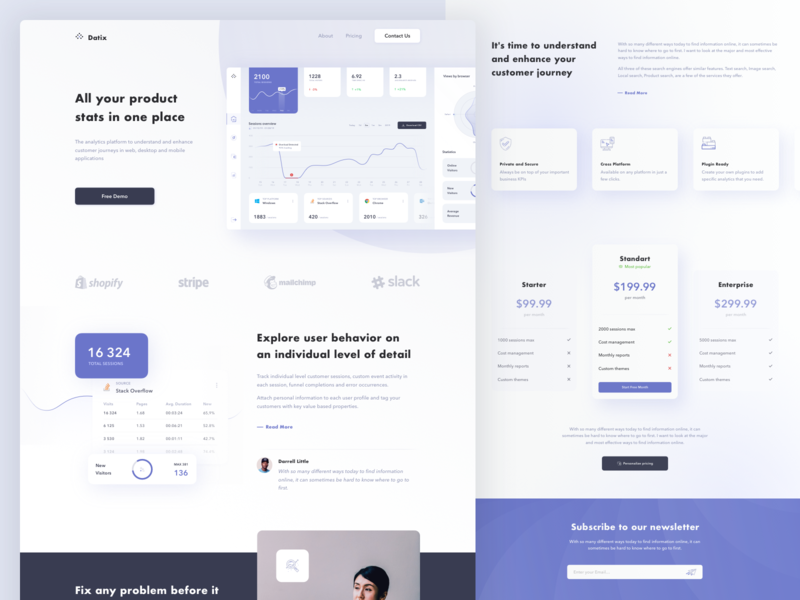 Product Analytics Management System Dashboard Landing Page chart analytics digital features pricing light home page landing fireart fireart studio design product app clean ux ui