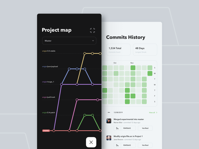 Mobile System Version Control iOS App commit github green files analitycs chart version git ui ux clean product app fireart studio fireart digital ios mobile design