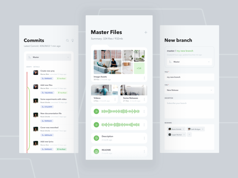 Mobile System Version Control iOS App design mobile ios digital fireart fireart studio app product clean ux ui git version chart analitycs files green github commit
