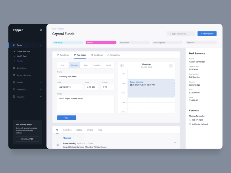 Deals Management Dashboard for Account Managers Inner Page ui ux clean product app fireart fireart studio analytics digital chart business accountant management pipeline