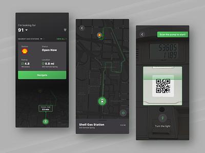 Search Nearest Gas Stations Mobile App dark ui dark station gas camera scan navigation map analytics digital app fireart fireart studio ux ui