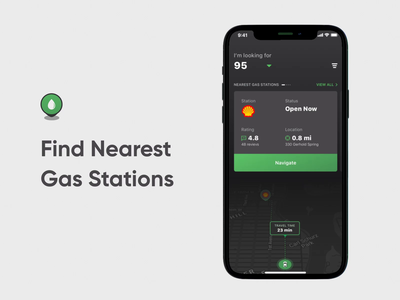 Search Nearest Gas Stations Mobile App Animation camera gas station gas navigation map presentation motion animation dark ui fireart fireart studio design app ux ui
