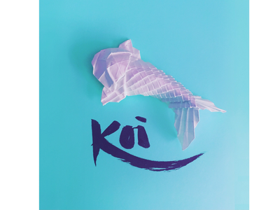 Swimming origami papercraft illustration hand-lettering hand-drawn