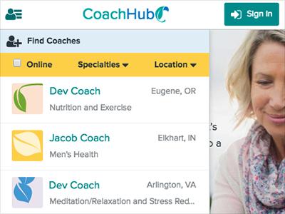 CoachHub Web App Filters