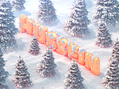 Happy Holidays new year photoshop c4d holidays christmas snow