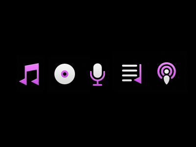 Songs Albums Artists Playlists Podcasts songs albums artists playlists podcasts iphone ios app icons cartunes music player