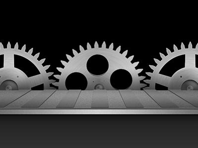 Factory gears conveyor belt metal texture iphone app interface