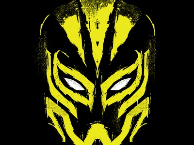 Senza Volto silkscreen prowrestling mask wrestling lucha illustration